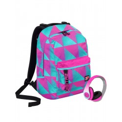 Zaino SEVEN THE DOUBLE - DIGITAL - Rosa Blu - cuffie stereo WIRELESS con microfono incluse! 2 zaini in 1 REVERSIBILE