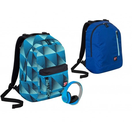 Zaino SEVEN THE DOUBLE NEW - DIGITAL - Azzurro Blu - cuffie stereo con grafica abbinata incluse ! 2 zaini in 1 REVERSIBILE