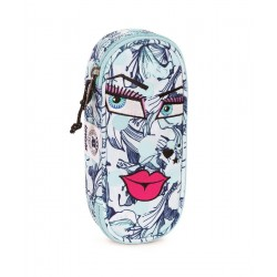 Portapenne INVICTA - LIP PENCIL BAG FACE - Azzurro fantasia bacio - porta penne scomparto interno attrezzato